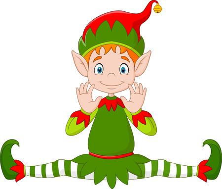 green cute: illustration of Cute green elf