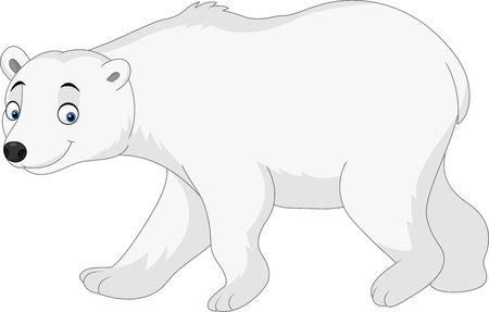 Vector illustration of Cartoon polar bear isolated on white background