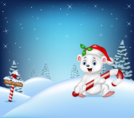 illustration of Cartoon Christmas background with polar bear holding candy