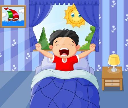waking: illustration of Little boy woke up and yawns