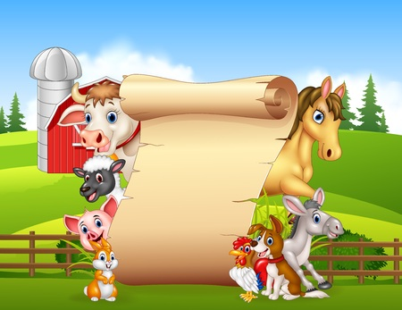 illustration of Cartoon funny farm animals with blank sign Illustration