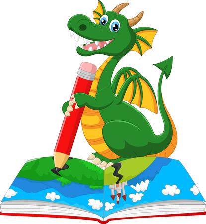 illustration of Cartoon dragoon drawing on a book