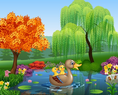 ducks: illustration of Cute duck swimming on the pond