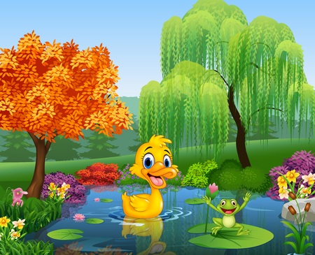 tree frogs: illustration of Cartoon duck with happy frog Illustration