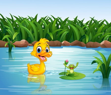 illustration of Cartoon funny duck with frog