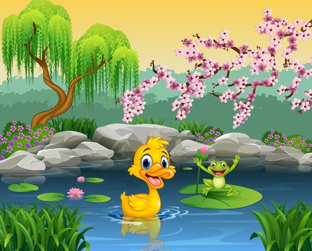 lily leaf: illustration of Cute duck with happy frog