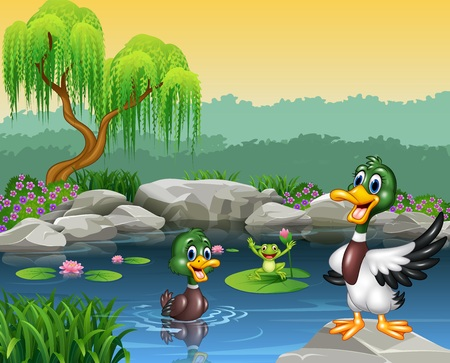 illustration of Cute ducks swimming on the pond and frog Illustration