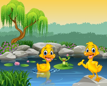 illustration of Cute ducks swimming on the pond and frog 向量圖像