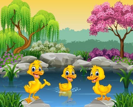 illustration of Cute ducks swimming on the pond