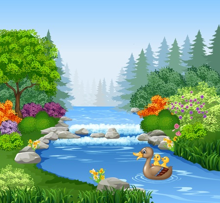 illustration of Cute duck swimming on the pond