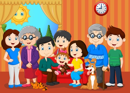 illustration of Big family with grandparents 일러스트