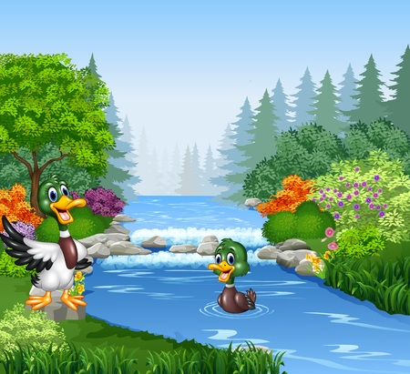 illustration of Cartoon duck at the river bank