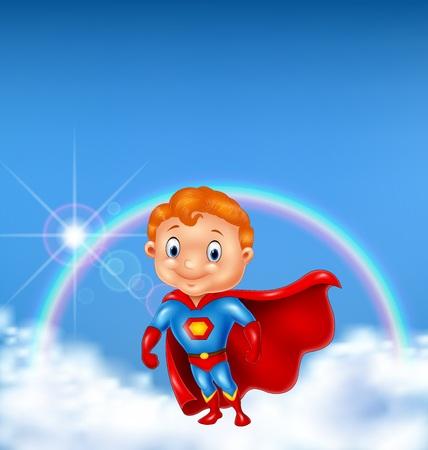 illustration of Superhero boy posing