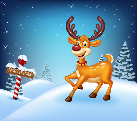 illustration of Cartoon Christmas background with happy deer