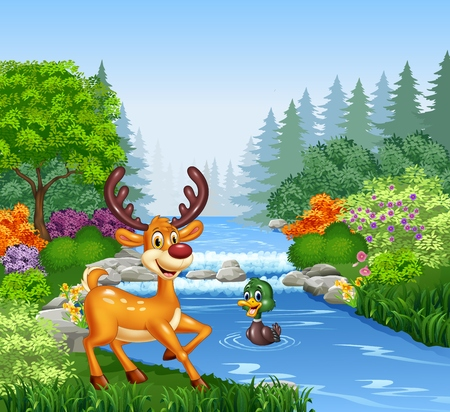 illustration of Cartoon deer at the river bank