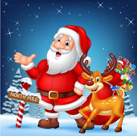 illustration of Christmas card with Santa and his reindeer Illustration
