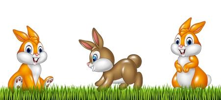 Illustration der Comic-Kaninchen auf Gras Hintergrund