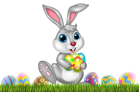 illustration of Easter bunny with decorated Easter eggs in a field