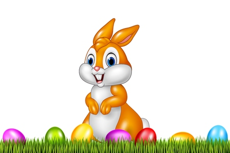 easter eggs: illustration of Easter bunny with decorated Easter eggs in a field