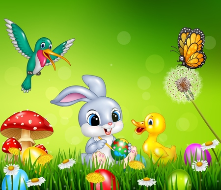 duck egg: illustration of Easter bunny with decorated Easter eggs in a field