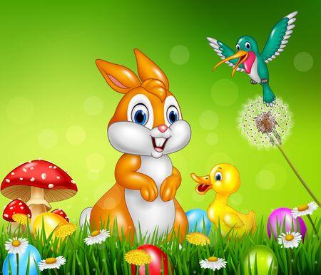green cute: illustration of Cute animals Easter eggs on green grass Illustration