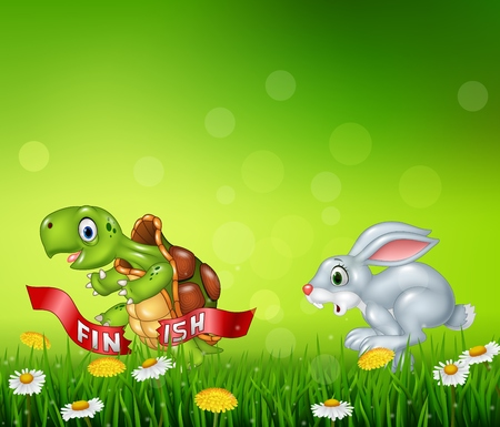 illustration of Cartoon a turtle win the race against a bunny