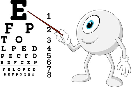 focus: illustration of Cartoon eye ball optician pointing to Snellen chart Illustration