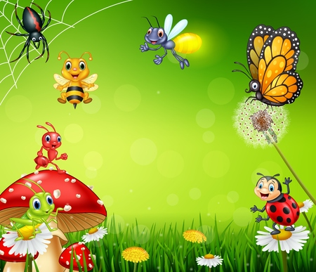 illustration of Cartoon small insect with nature background 일러스트