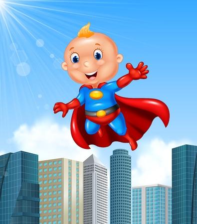 blonde teenager: illustration of Cartoon superhero boy with skyscraper background