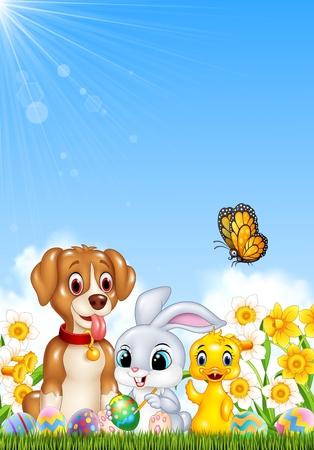 Illustrazione di animali e uova di Pasqua su erba verde