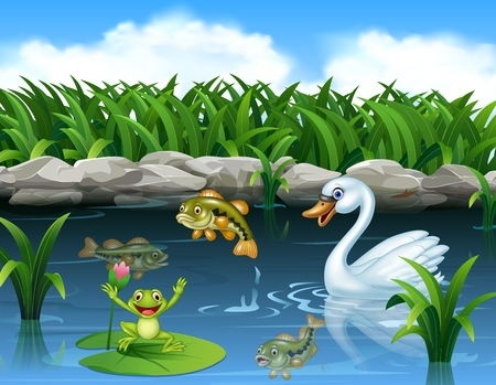 illustration of Cute swan swimming on the pond and frog