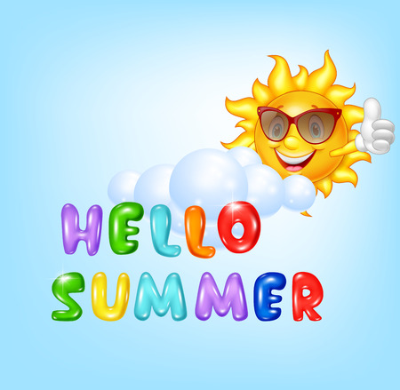 illustration of Summer background with Sun giving thumbs up Illustration