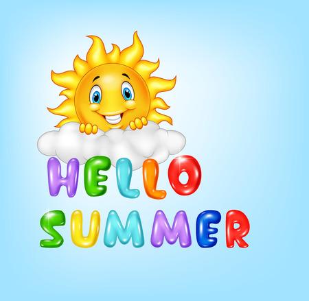 illustration of Summer background with happy sun cartoon Illustration