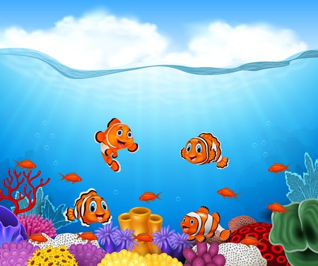 illustration of Cartoon clown fish in the sea