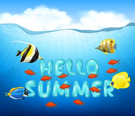 illustration of Summer background with tropical fish