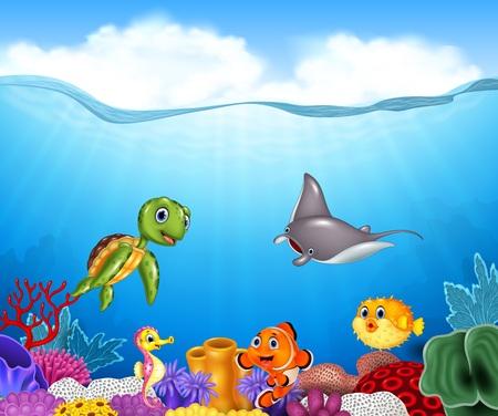 ilustracja Cartoon tropikalnych ryb z pięknym podwodnym światem