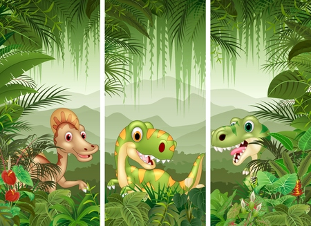jurassic: illustration of Set of dinosaur with tropical forest background