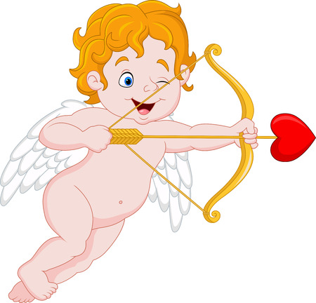 illustration of Funny little cupid aiming at someone