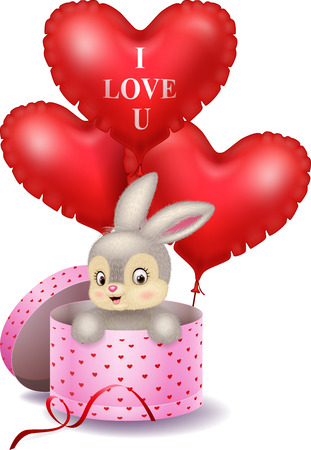cute love: illustration of Cartoon bunny in a gift box holding red shape balloon