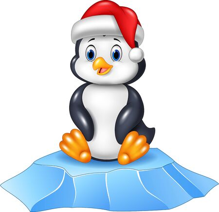 illustration of Cute baby penguin sitting on ice floe