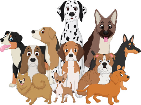 illustration of Set of funny dogs cartoon