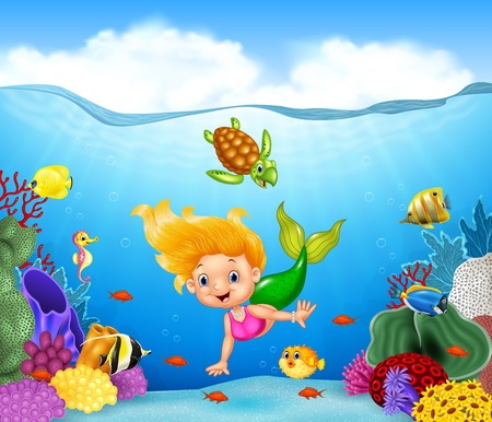 illustration of Cartoon mermaid with beautiful underwater world
