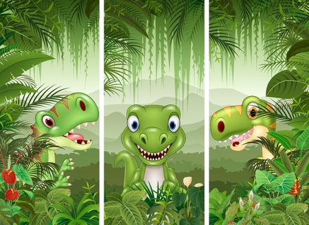 illustration of Set of dinosaur with tropical forest background
