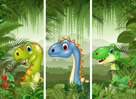 raptor: illustration of Set of dinosaur with tropical forest background