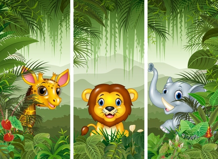 illustration of Set of three african animals with tropical forest background Illustration
