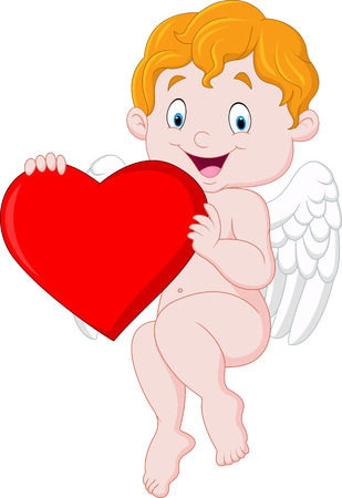 illustration of Funny little cupid holding love heart
