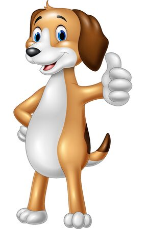 doggie: illustration of Cartoon funny dog giving thumbs up
