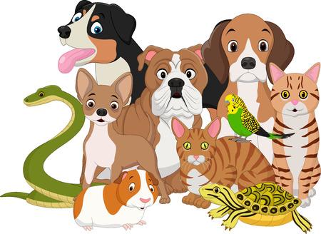 ilustración de dibujos animados Grupo de animales domésticos