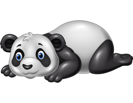 illustration of Cartoon funny panda lying down Illustration