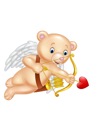 illustration of Funny little bear cupid aiming at someone Illustration